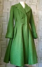 LADIES TAILORED 1940s/50s Vintage SwingWINTER COAT olive green 8.16.18,22 24