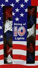 4th of July 10 Red White & Blue Metal Star Lights Set Indoor/Outdoor 72 in Nib