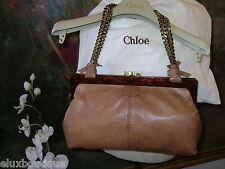 "CHLOE Lamb Leather HANDBAG Gold Kiss Lock Purse Double 21"" Bronze Chain Bag NEW"