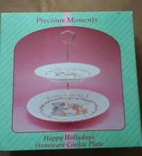 """Precious Moments 1994 """"Happy Holidays 2 Tier Stoneware Cookie Plate"""" #139009"""