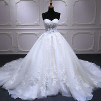 White/Ivory Lace Wedding Dresses Appliques Beaded Ball Gown Bridal Gowns Custom