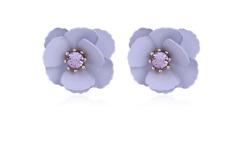 Lilac poppy Flower Metal Earrings Stunning Stud pale purple