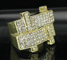 Mens Pinky Ring Iced Cz Band 14k Gold Plated Hip Hop Statement Fashion