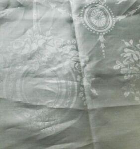Vintage White Damask Tablecloth & Runner Roses Shamrocks 72 x 88