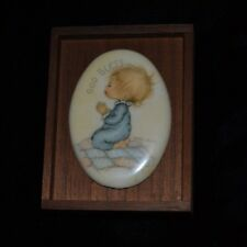 Rare Vtg Collectible Miniature Wooden Frame Betsey Clark Praying Child God Bless