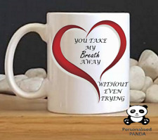 personalised valentines, the one i love, novelty, couples mug, breath away