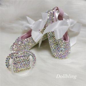 2021 Bowknot custom rhinestone baby girl shoes 0-1Y ribbon princess shoes