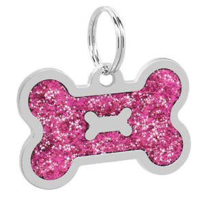 Bone Glitter Personalized Dog Tag Engraved+Ring Pet Puppy Cat ID Name Collar Tag