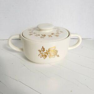 Vintage White Ceramic Gold Rose Sugar Dish Bowl Shabby Chic