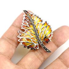 Sterling Silver 925 Marcasite Enamel Autumn Colours Leaf Pendant / Brooch