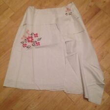 LADIES white embroidered linen Gypsy country skirt SIZE 10 12 by NAUGHTY NEW
