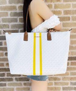 Michael Kors Large Logo Stripe XL Travel Tote Bag Bright White MK Citrus Yellow