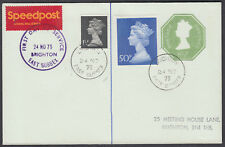 1975 Royal Mail Speedpost 'FDC' uprated Stationery Envelope; unusual