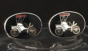 Cufflinks Model T Car Black Enamel Vintage Silver Plated Pair Classic Cars