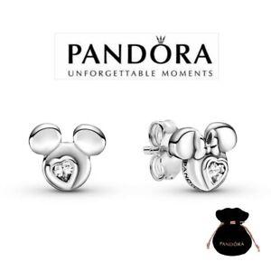 Genuine PANDORA Disney Mickey & Minnie Mouse Silhouette Stud Earrings 299258C01