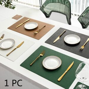 1PC PU Leather Placemat Single-sided Solid Oil Proof Table Mat Coasters