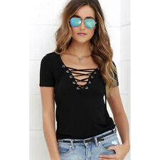 Women Summer V Neck Short Sleeve T Shirt Casual Tunic Beach Solid Blouse Top Tee
