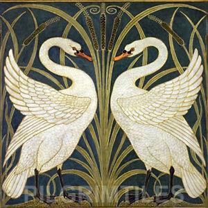 Walter Crane Swans Ceramic or Porcelain Tile Fireplace Kitchen Bathroom