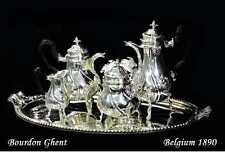 BOURDON GHENT: Antique Belgian .900 Silver Tea & Coffee Service 1890
