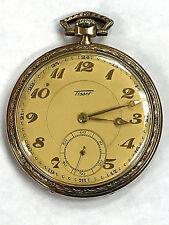 Rare Swiss TISSOT Antique Solid 14K Yellow Gold Pocket Watch WORKING! WARRANTY!