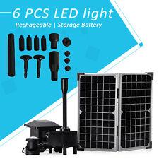Solarpumpe Solar Teichpumpe Pumpe für Garten Teich mit Akku LED Beleuchtung 20W