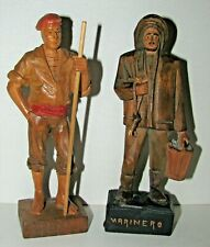 Vintage Barcelona Spain Carved Wood Figures Spanish Hand-Crafted Market