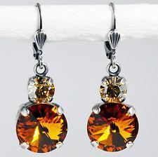Ohrringe Ohrhänger Silber Altsilber Swarovski Kristall Rund - Topaz - braun
