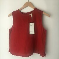 NWT DEFECT Eileen Fisher THE ICONS The Shell Organic Linen Burnt Red Top S $138