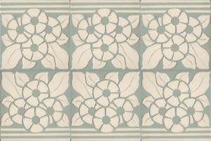 Set of 6 Original c1900 Germany Villeroy & Boch Art Nouveau Majolica tile Grey