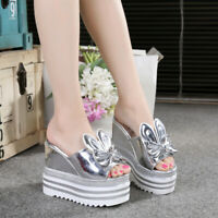 Women Bow Wedge High Heel Platform Shoes Slippers Mules Sandals Open Toe Slip on