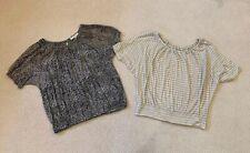 2 Ann Taylor Loft Ladies Blouses Short Sleeve Shirts Tops Size Small