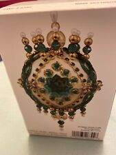 Mary Maxim beaded Christmas ornament kit SEALED green gold white