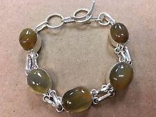 NEW 925 Sterling Silver w. Natural Brown Golden Agate Bangle Bracelet  7-8 1/4