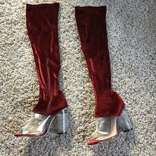 Red Velour Over Knee Sandal Boots High Heels Size UK 5