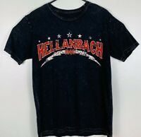 Hellanbach Graphic Short Sleeve T-Shirt Skull Wings Biker Mens Size L Black EUC