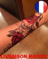 Tatouage Temporaire Rose Fleurs Corps épaule Cuisse Dos Faux Femme Tattoo Mode