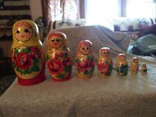 Vintage Russian Matryoshka Nesting Doll Set Hand Painted Signed 7pcs Look!