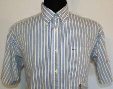 Vintage Tommy Hilfiger Mens Medium Yellow & Blue Striped Short Sleeve Shirt Logo