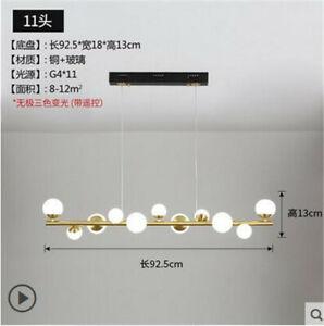 11/15 heads LED glass ball restaurant chandelier modern simple bar copper light