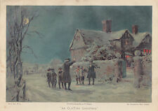 COLONIAL CHRISTMAS CAROLERS SNOW COTTAGE HOLIDAY SCENE ANTIQUE LITHOGRAPH