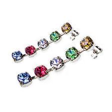 Damen Ohrringe Swarovski Kristalle 925 Silber Versilbert Rot Blau Grün Weiß Gelb