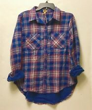 NWT TRUE CRAFT Women's Long Sleeve Plaid Pocket Front Shirt In Pink sz M # 002