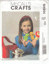 McCalls Childs Finger Puppets Tote Bear Lion Dog Frog Sewing Pattern 4944