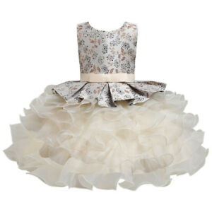 Toddler Kid Girls Wedding Bridesmaid Dress Pageant Tulle Christening Formal Gown
