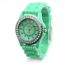 Fashion LADIES WOMEN Silicone GENEVA Rhinestone Quartz Wrist Watch Green