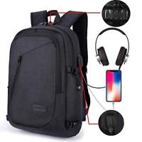 Anti-theft Men/Womens Laptop Notebook Backpack +USB Charging Business School bag
