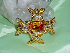 Gorgeous JOAN RIVERS 4 Crystal Bee Pin Brooch, Gold Tone Metal, Topaz Stone