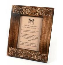 Hand Carved Wooden Elephant Design Picture Photo Frame Handmade Wood Fair Trade