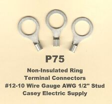 """25 Non Insulated RING Terminal Connectors #12-10 Wire Gauge AWG 1/2"""" Stud USA"""