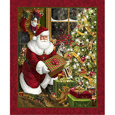 """36"""" Fabric Panel - Quilting Treasures Best Time Year Christmas Santa Wallhanging"""